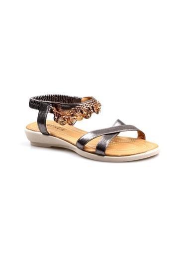 Papuçcity Mıss Jena Platin Bayan Günlük Sandalet Gümüş